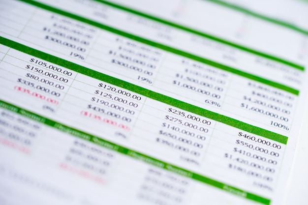 Tableur tableur papier développement des finances, compte, analyse statistique des investissements.