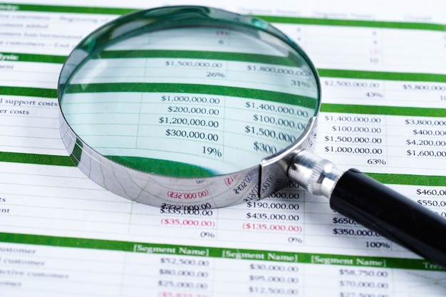 Tableur tableur papier développement des finances, compte, statistiques d'investissement.