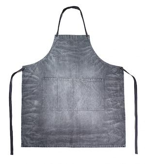 Tablier en denim gris propre isolé sur blanc