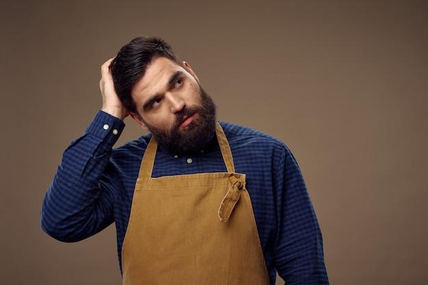 Tabliers de barbier homme service professionnel beige