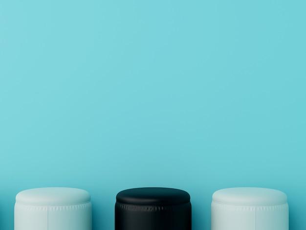 Tabouret noir exceptionnel parmi les tabourets blancs dans le salon a des murs bleus. rendu 3d.