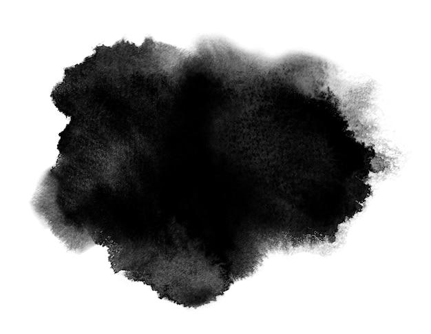 Tache d'aquarelle noire avec des éclaboussures de lavage. aquarelle
