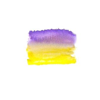 Tache dessinée à la main à l'aquarelle abstraite. élément de design aquarelle. fond violet et jaune aquarelle.
