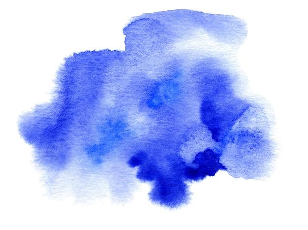Tache dessinée à la main à l'aquarelle bleue sur la texture du grain du papier blanc