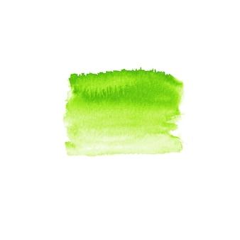 Tache de modèle de conception de logo aquarelle verte. tache de bannière d'affiche d'emblème d'étiquette de signe dessiné main aquarelle verte. eco design template grunge brush texture illustration isolé sur fond blanc