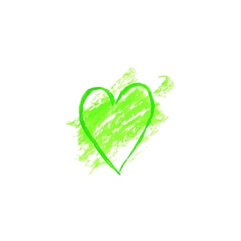 Tache de modèle de conception de logo en forme de coeur aquarelle verte. tache de bannière d'affiche d'emblème d'étiquette de signe dessiné main aquarelle verte. eco design modèle grunge texture illustration isolé sur fond blanc