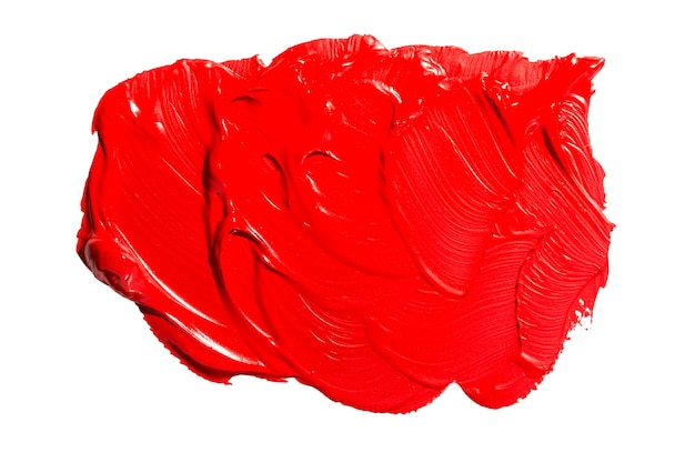 Tache de peinture à l'huile abstraite rouge. coups de pinceau de peinture rouge huile colorée isolés sur fond blanc.