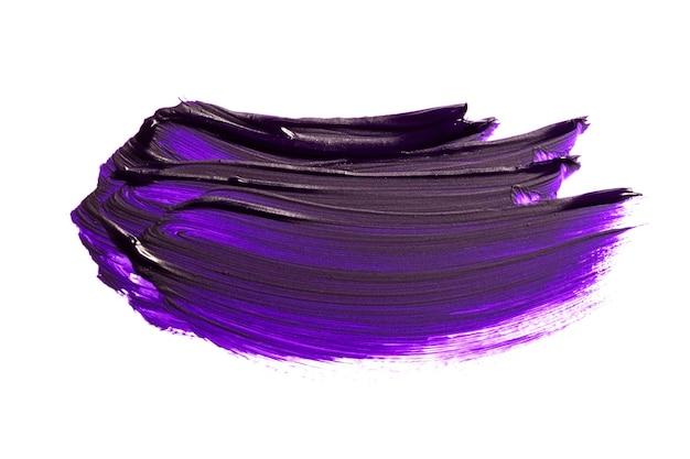 Tache de peinture à l'huile abstraite violette. coup de pinceau de peinture à l'huile coloré isolé sur fond blanc.