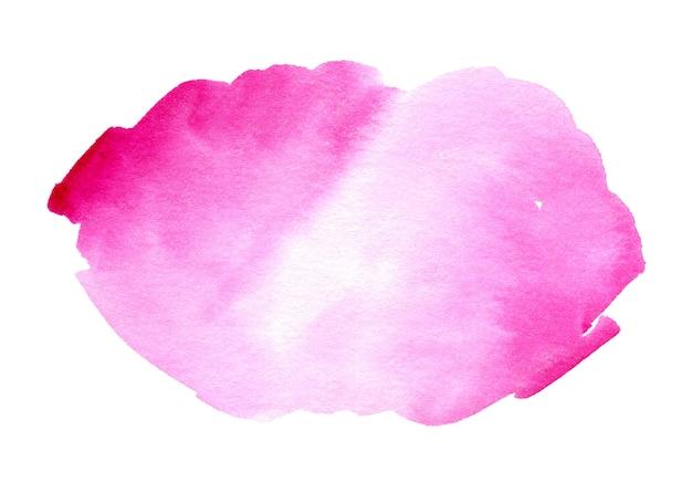 Tache rose d'aquarelle pour le texte ou le logo sur le fond blanc