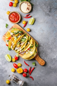Tacos de maïs végétariens