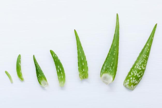 Des tailles différentes de feuilles d'aloe vera sur fond en bois blanc.