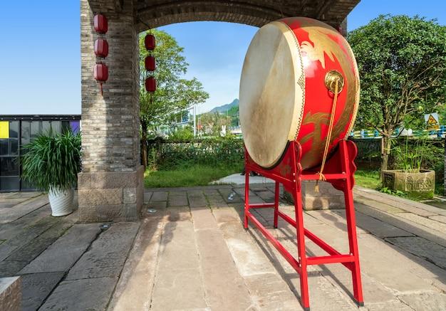Tambour chinois rouge