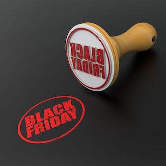 Tampon en caoutchouc avec le texte black friday estampé sur fond noir. illustration 3d.
