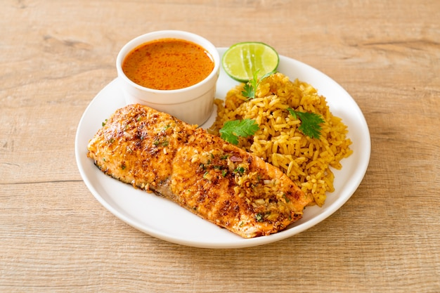 Tandoori de saumon poêlé avec riz masala