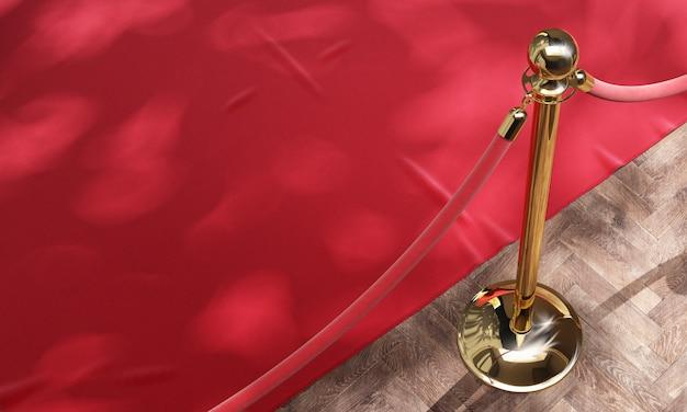 Tapis d'événement rouge et barrière dorée avec corde rouge 3d