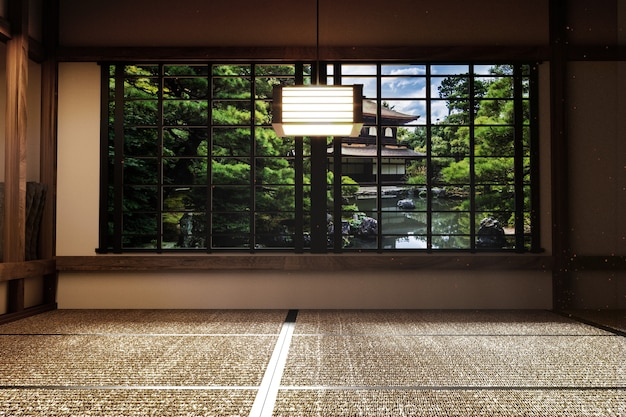 Tapis japonais de tatami de pièce vide concevoir le plus beau. rendu 3d