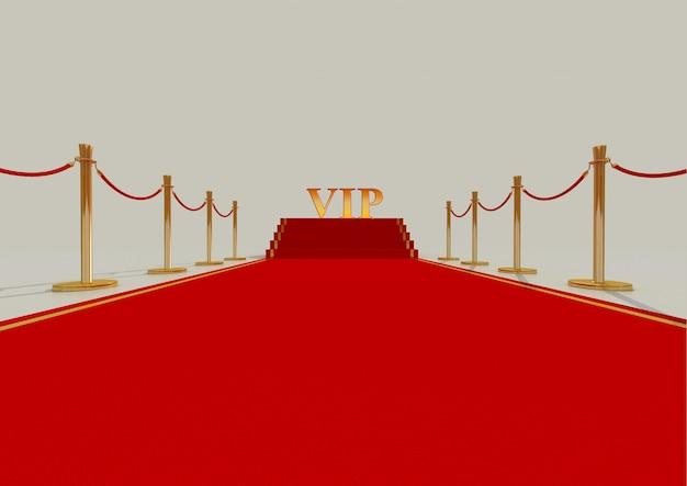 Tapis rouge avec barrière dorée et cordes. escalier à la fin. illustration 3d