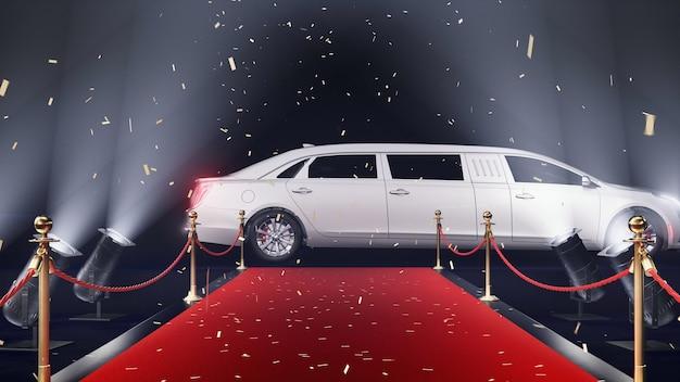 Tapis rouge de rendu 3d avec limousine et confettis sur fond noir
