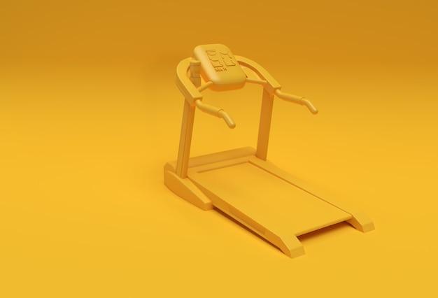 Tapis roulant de rendu 3d ou machine en marche sur fond jaune
