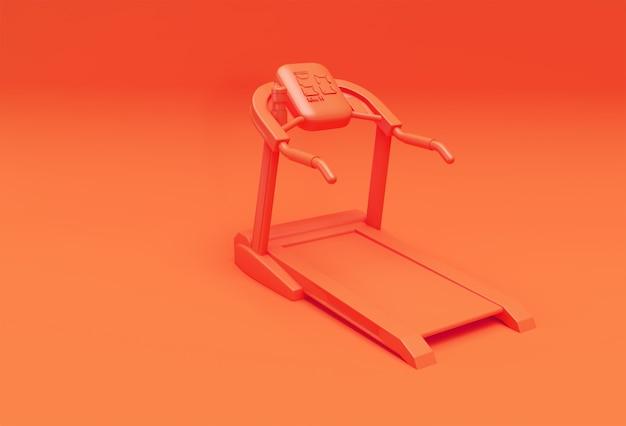 Tapis roulant de rendu 3d ou machine en marche sur fond orange