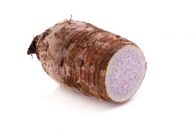 Taro racine isolé sur fond blanc.