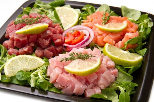 Tartare de saumon, thon et espadon