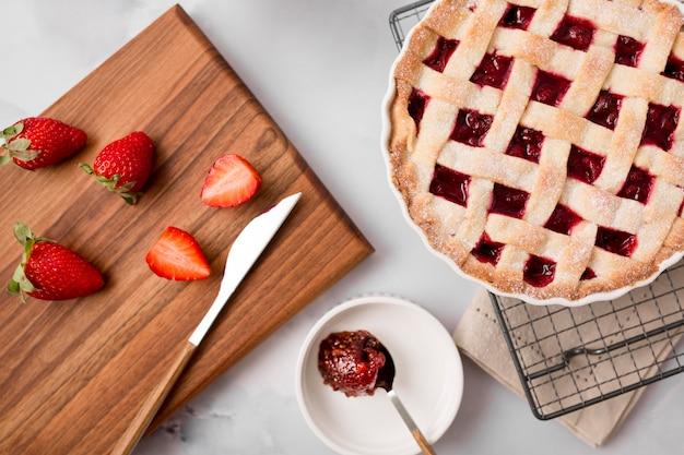 Tarte aux fraises et confiture maison