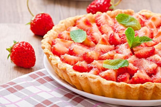 Tarte aux fraises et crème anglaise