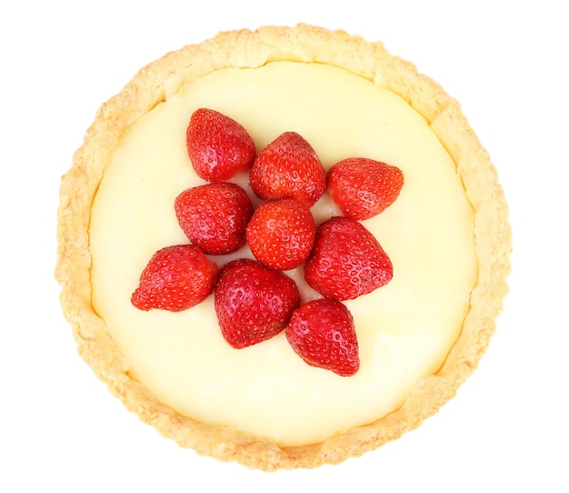 Tarte aux fraises isolated on white