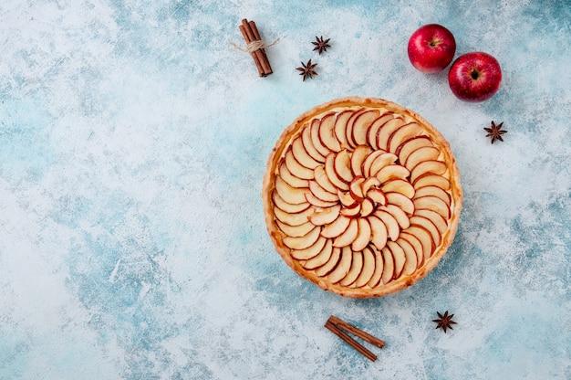 Tarte aux pommes. tarte sur une assiette aux épices cannelle et anis étoilé.
