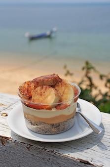Tarte banoffee au restaurant de la plage