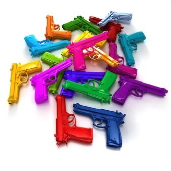 Tas d'armes à feu de différentes couleurs vives