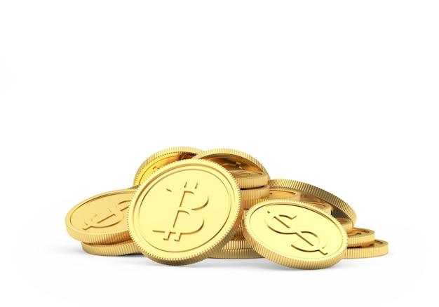 Tas de bitcoins d'or et de pièces en dollars comme piédestal