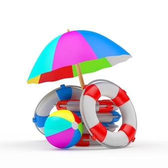 Tas de bouées de sauvetage avec parasol et ballon