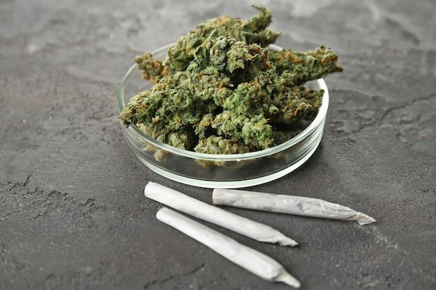 Tas de bourgeons de mauvaises herbes dans une boîte de pétri avec des cigarettes sur table grise