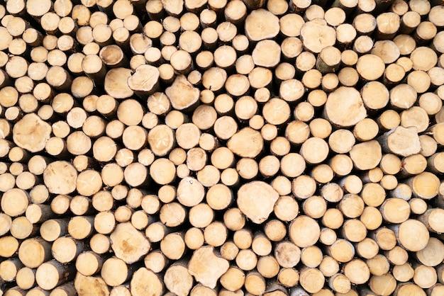 Tas de bûches de bois prêt pour l'hiver