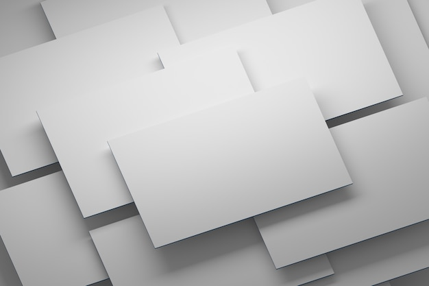 Tas de cartes vierges blanches vierges blanches disposées en couches