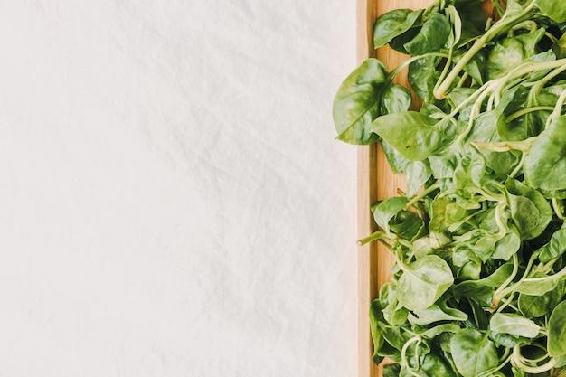 Tas de cresson vert et frais servi sur une assiette en bois