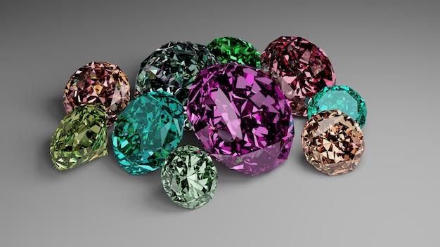 Un tas de diamants colorés sur fond blanc.
