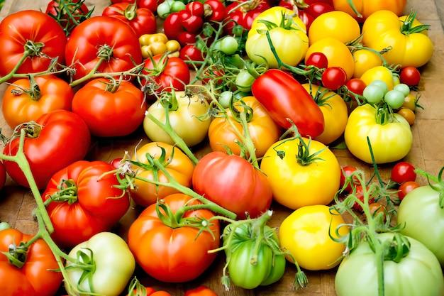 Tas de différentes sortes de tomates, vue de dessus