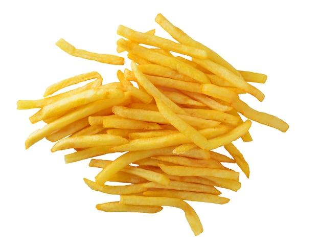 Un tas de frites isolé sur fond blanc