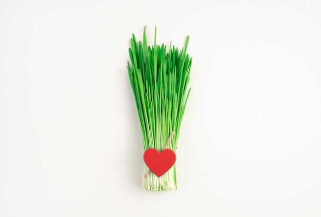 Un tas d'herbe de blé avec un cœur rouge sur fond clair.