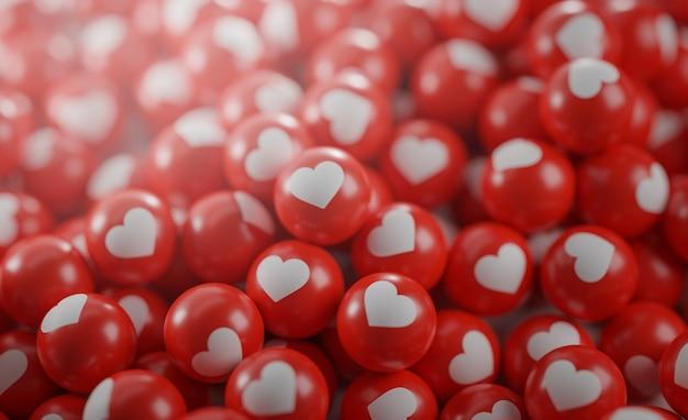 Un tas d'icônes d'amour. concept de médias sociaux