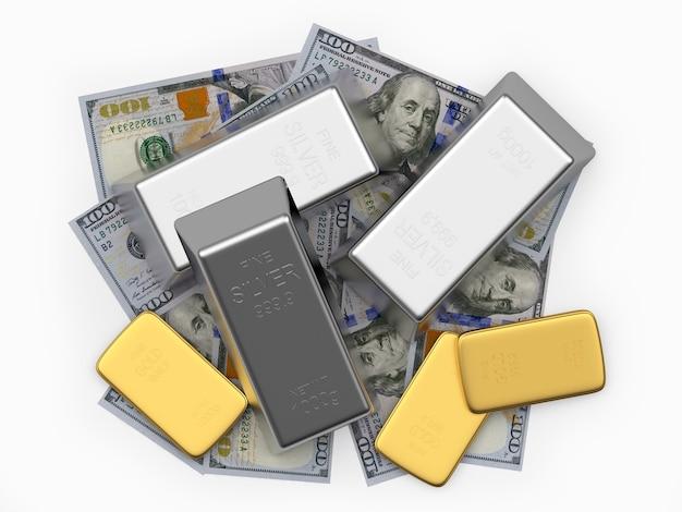 Un tas de lingots d'argent et d'or sur dollar