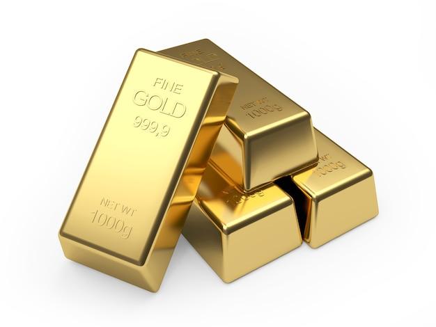 Tas de lingots d'or sur blanc