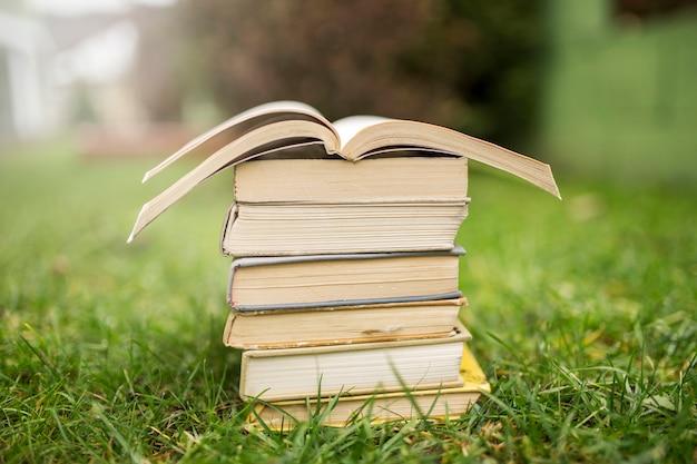 Tas de livres sur l'herbe