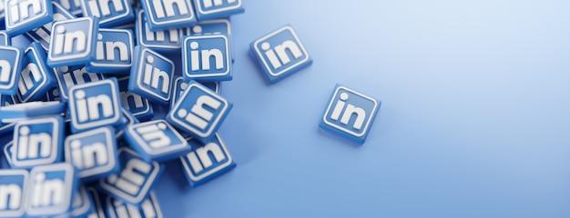 Un tas de logos linkedin sur bleu