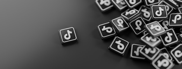 Un tas de logos tiktok sur fond noir