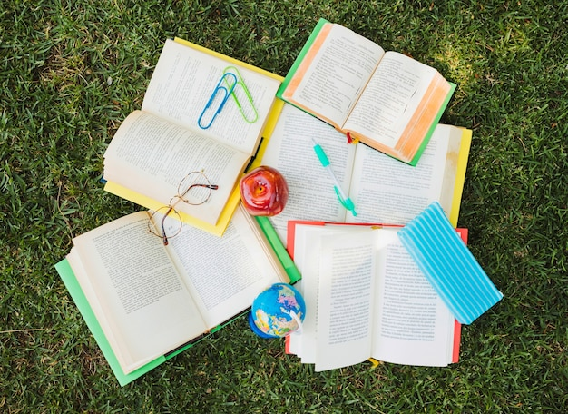 Tas de manuels scolaires avec papeterie dans le chaos sur la pelouse verte