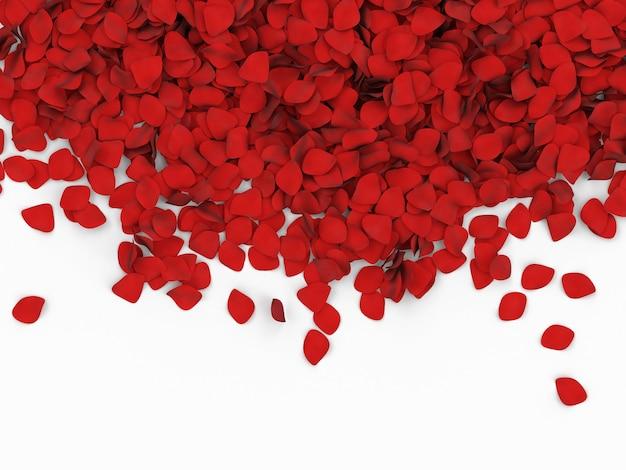 Tas de pétales de rose rouge